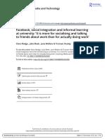 Facebook, Social Integration an Informal Learning at University