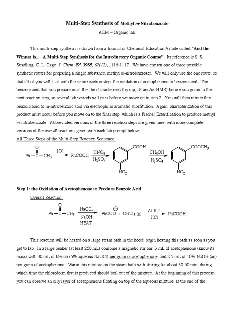 synthesis of methyl m nitrobenzoate lab report