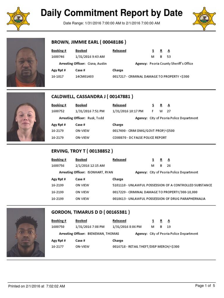 Peoria County Booking Sheet 01 29 16 02 01 16 Theft Assault