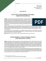 Razvojna i ekonomska politika i kreativni kapital