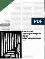 Los Restos Zooarqueologicos de Las Islas Venezolanas