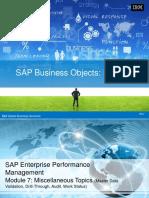 SAP BPC10 - Plng Module 7 - Miscellaneous Topics