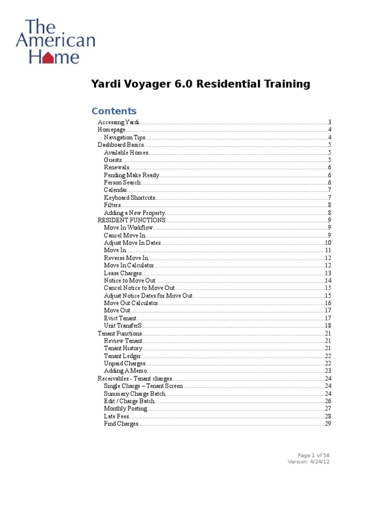 American Home Yardi Voyager Training Guide 2