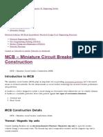 MCB - Miniature Circuit Breaker Construction