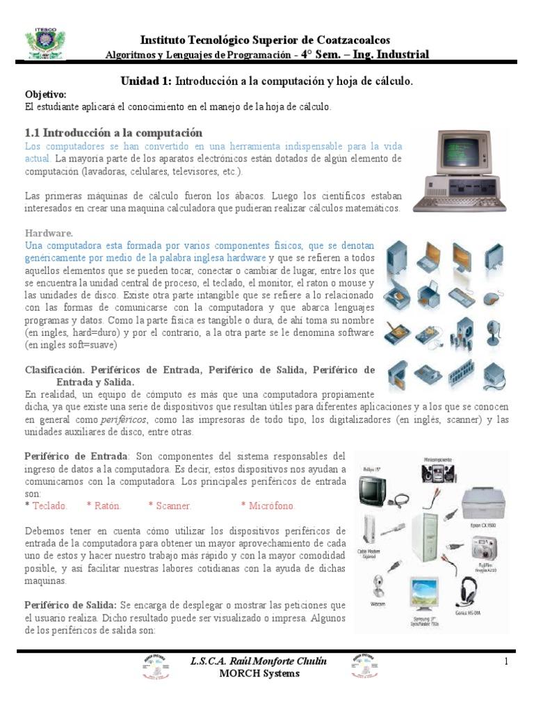 Unidad 1, Introducción a La Computación y Hoja de Cálculo.