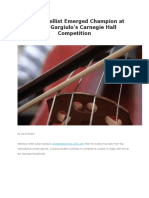 Korean Cellist Emerged Champion at Julian Gargiulo's Carnegie Hall Competition