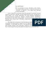 Resume, Curriculum Vitae, And Biodata