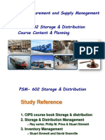 PSM -602 Storage & Distribution Course Content & Class Plan