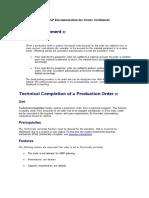 Production Order Settlement