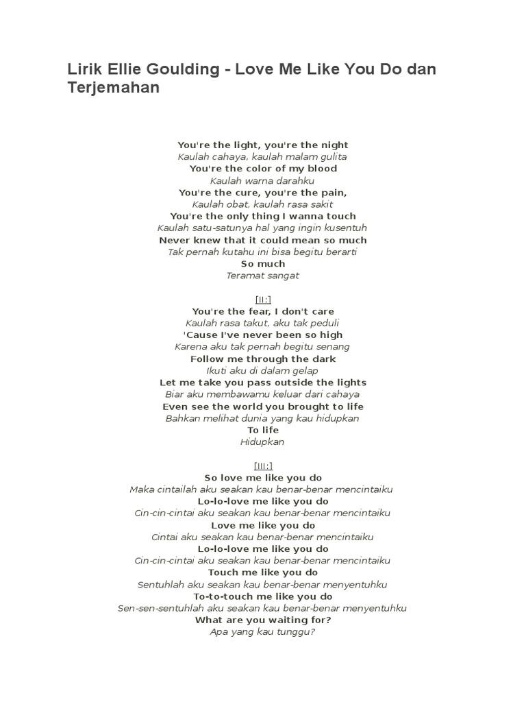 Lirik lagu love me like you do dan terjemahannya