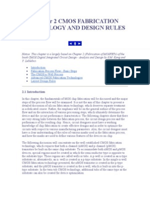 Chapter 2 Cmos Fabrication Technology and Design Rules