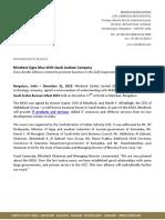 Mindteck Signs Mou With Saudi Arabian Company