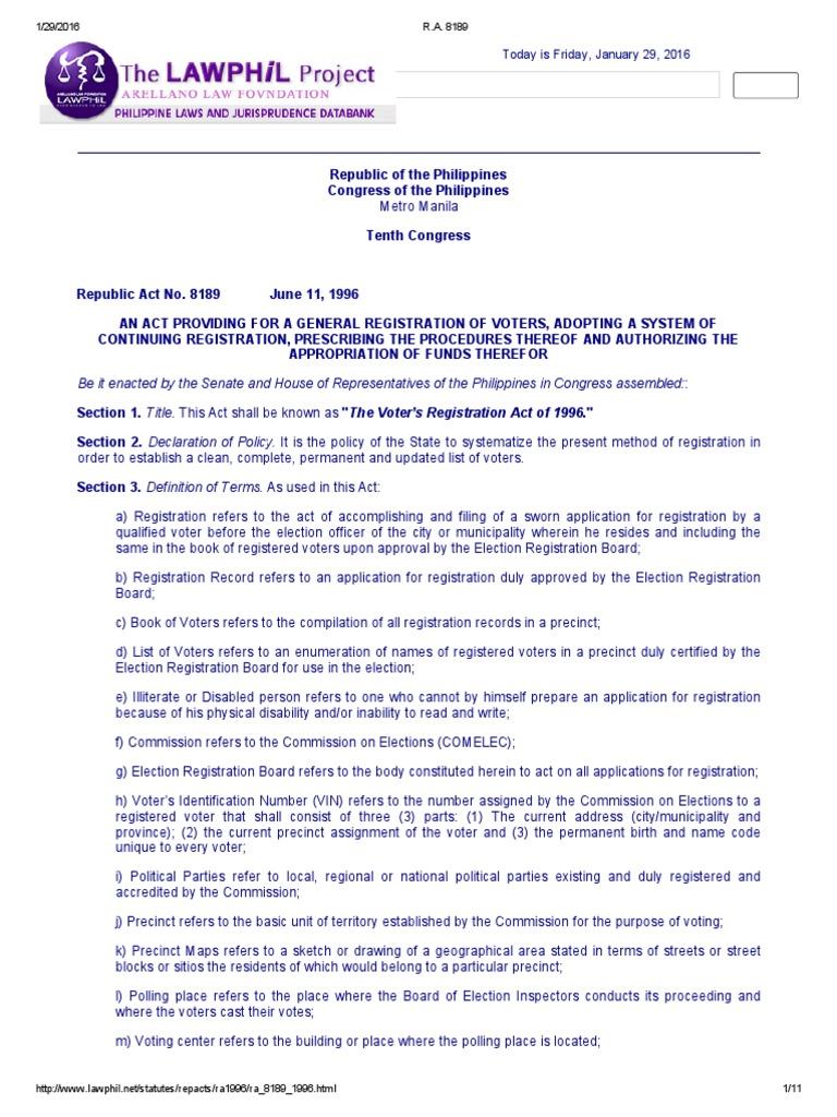 Ra 8189 Voter Registration Identity Document