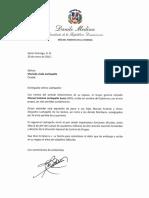Carta de Condolencias del Presidente Danilo Medina a Marisela viuda Lachapelle por Fallecimiento de su Esposo, Manuel Antonio Lachapelle Suero