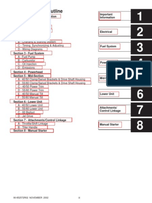 Mercury service manual 40-50-55-60-90 | Internal Combustion ... on speed diagram, power diagram, ignition diagram, intercooler diagram, propeller diagram, stroke diagram, carb diagram, weber carburetor diagram, wheels diagram, switch diagram, sensor diagram, lever diagram, mixture diagram, stick diagram, coil diagram, temperature diagram, jet diagram, belt diagram, wiring diagram,