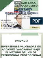 INVERSIONES VALORADAS EN  ACCIONES VALORADAS BAJO  EL MÉTODO DEL VALOR  PATRIMONIAL PROPORCIONAL