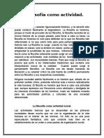 La Filosofia Como Actividad, Antonio Gonzales