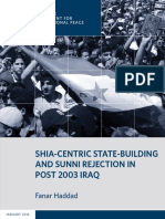 Shia-Centric State Building and Sunni Rejection in Post-2003 Iraq