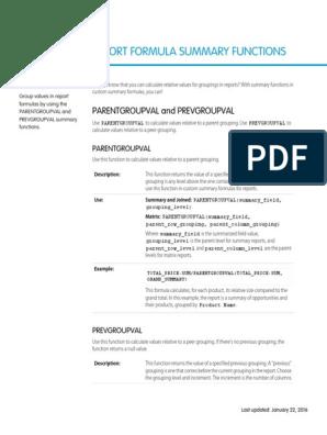 Salesforce Report Summary Functions Cheatsheet | Matrix
