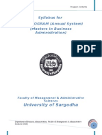 Mba Annual 2009 Sargodha university syllabus.