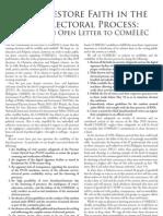 De La Salle Brothers' Open Letter to COMELEC