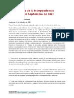 Acta de La Independencia Centroamérica