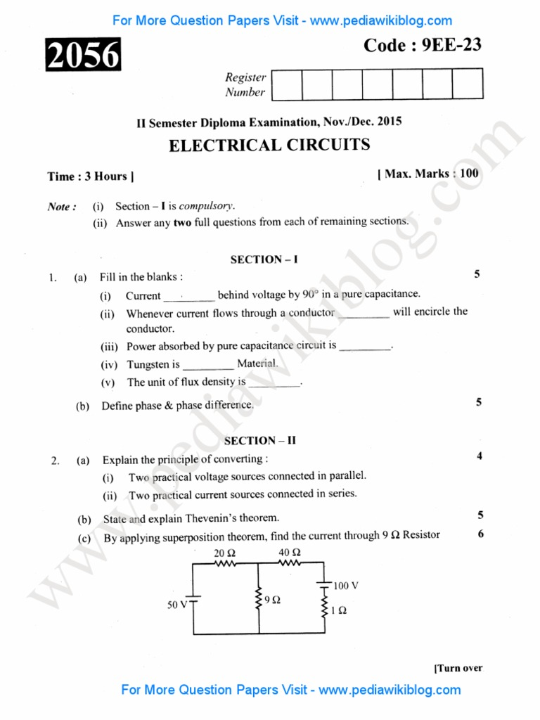 2nd sem dip electrical circuits dec 2015 pdf inductance inductor