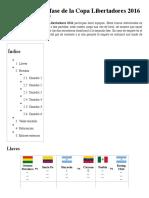 Anexo:Primera Fase de La Copa Libertadores 2016