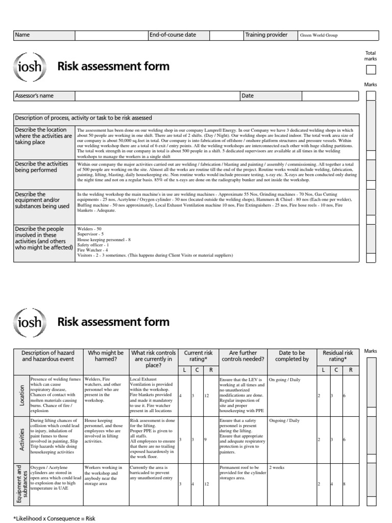 Iosh Risk Assessment Sample Gallery