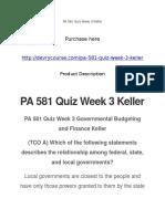 PA 581 Quiz Week 3 Keller