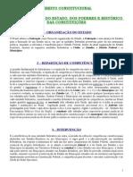 Direito Constitucional - Da Organização do Estado, dos Poderes e Histórico das Constituições