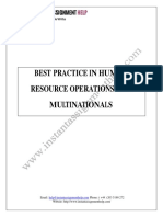 Best Practice in Human Resource Operations for Multinationals Assignment Sample