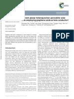 Efficient Planar Heterojunction Perovskite Solar Cells Employing Graphene Oxide as Hole Conductor