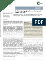 High Efficiency Single-junction Semitransparent Perovskite Solar Cells