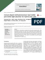 Cesium-doped Methylammonium Lead Iodide Perovskite Light Absorber for Hybrid Solar Cells