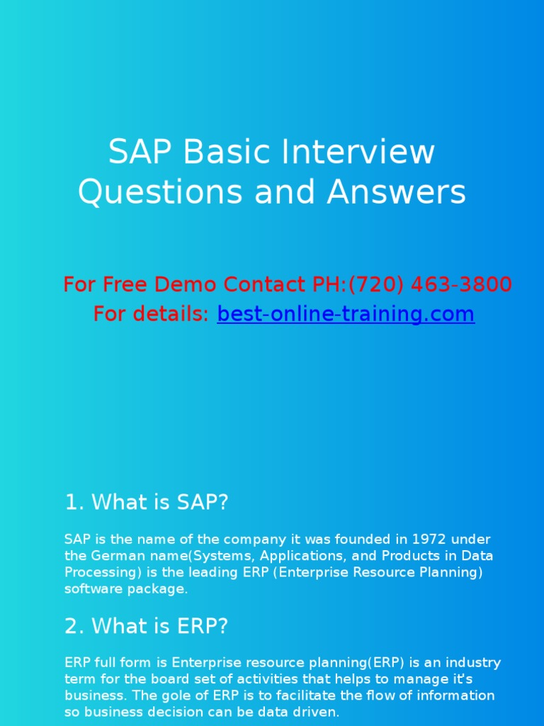SAP Basic Interview Questions and Answers | Enterprise