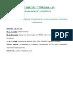 Programação Cientifica - XXIV ENECIC -TERESINA - PI