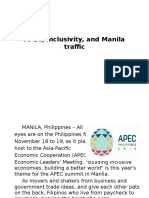 APEC, Inclusivity, And Manila Traffic