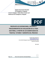 PROPUESTA DE DEFINICIONES, CRITERIOS Y PROCEDIMIENTOS DE EVALUACION DE LA TESIS DOCTORAL, A PARTIR DE LOS SIGNIFICADOS EN TESISTAS, TUTORES Y GERENTES DEL PROCESO DEJAY 2012