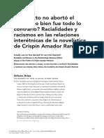 """Arturo Arias, """"¿En efecto no abortó el tiempo, o bien fue todo lo contrario? Racialidades y racismos en las relaciones interétnicas de la novelística de Crispín Amador Ramírez"""""""