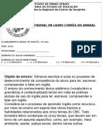 Plano de Ensino de Ingles 2016 e.f