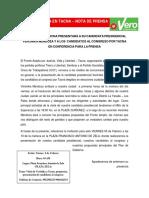 Nota de Prensa y Cronograma de Actividades - Vero en Tacna, Viernes 5