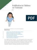 Behavior Modification in Children With Temper Tantrums