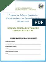 Segunda Prueba de Avance - Ciencias Naturales - Primer Año de Bachillerato