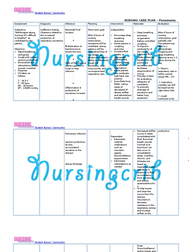 Nursing Care Plan For Pneumonia Ncp Respiratory Tract Lung