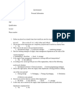 Questionnaire on Inventory Management