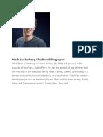 Mfsdfsafark Zuckerberg Childhood Biography