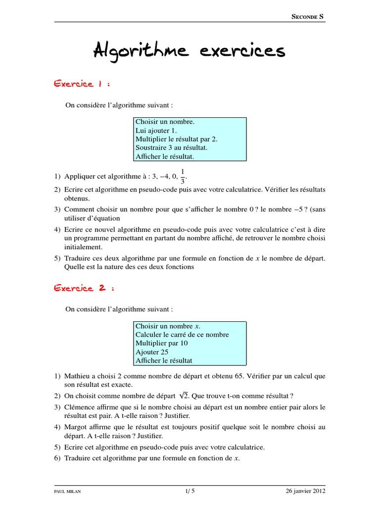 Algorithme Exercices Racine Carree Analyse Mathematique