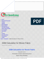 Gsm Calculation for Woven Fabric