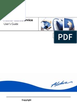 Aloha Table Service Users Guide Version 5.3 | Login | Tab (Gui) on